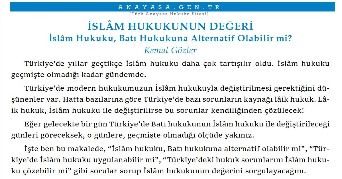 kemal gozler islam hukukunun degeri